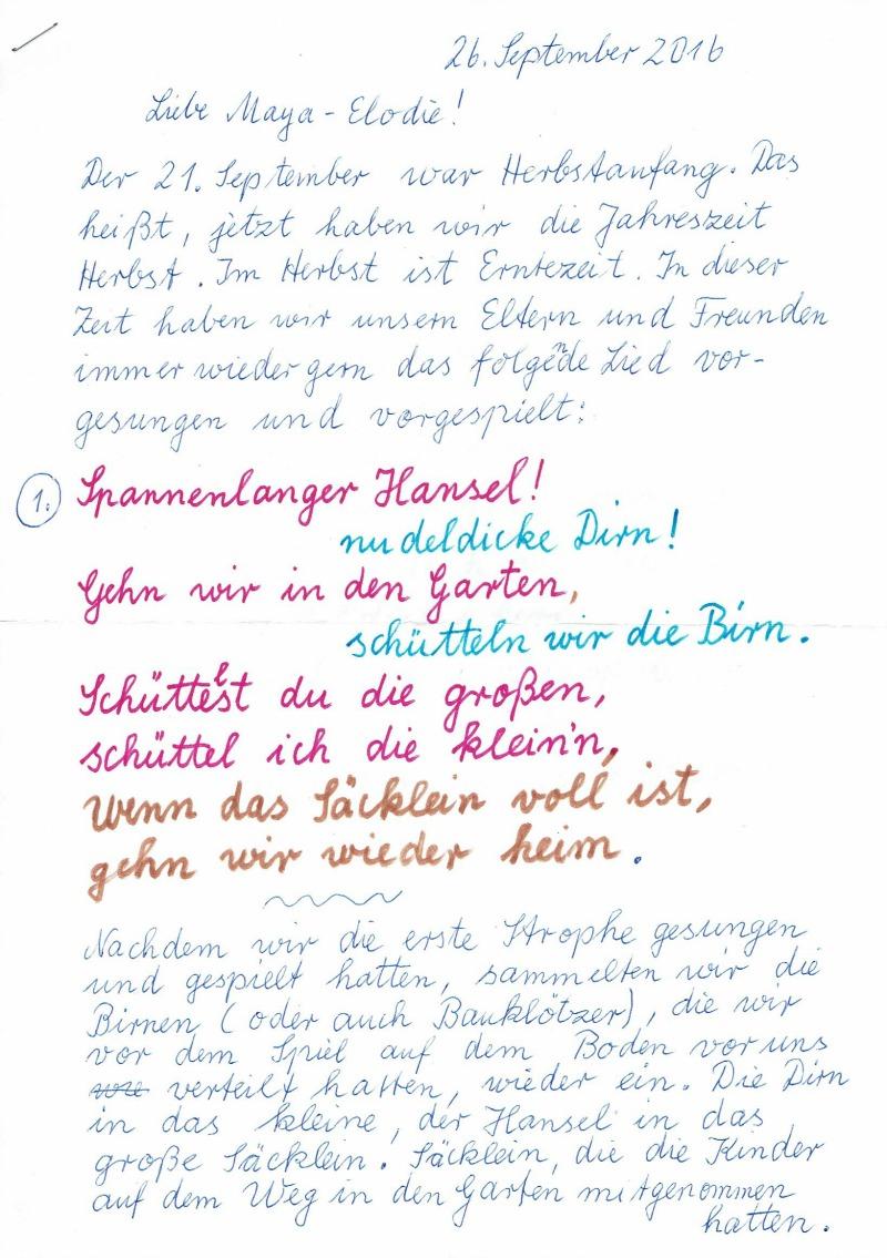 Brief von Oma Johanna - Seite 1