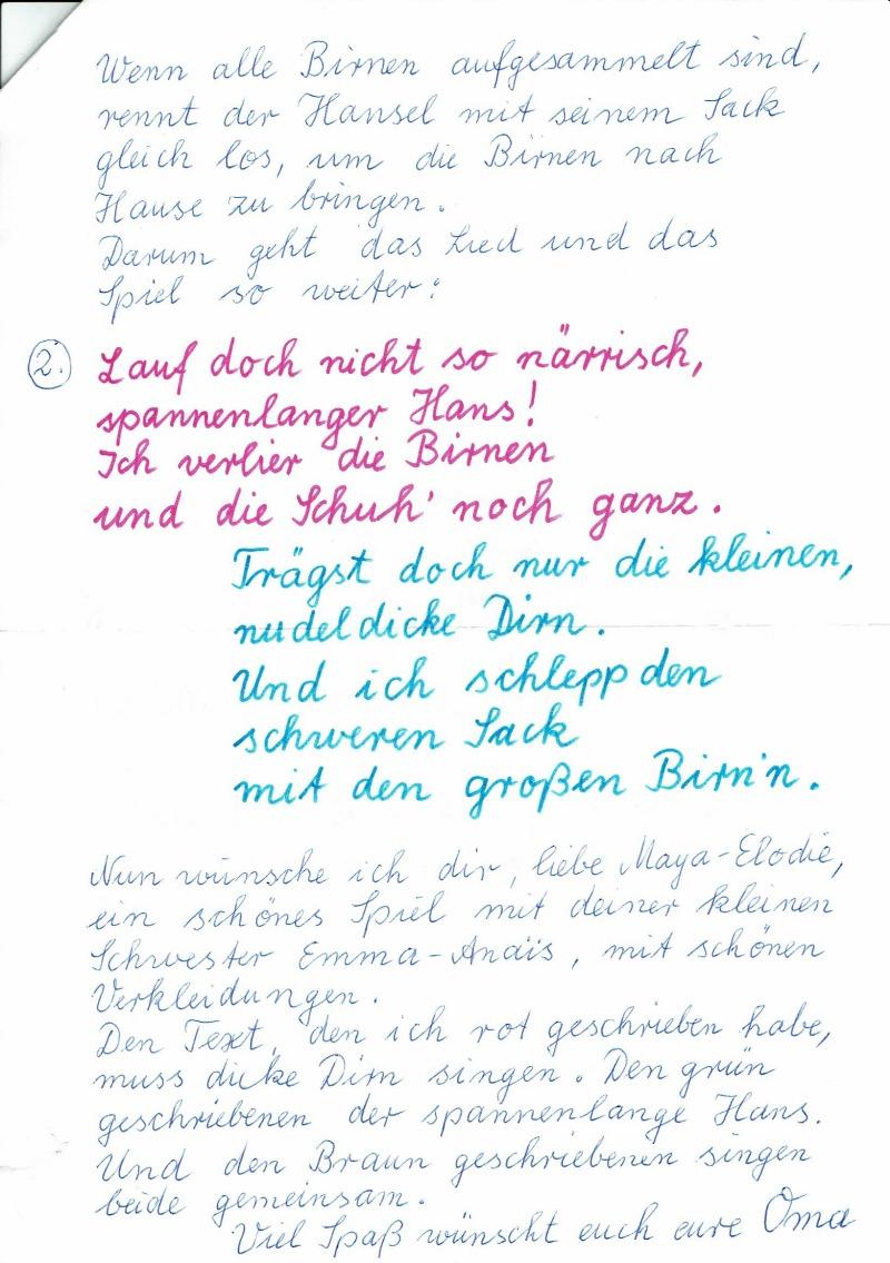 Brief von Oma Johanna - Seite 2
